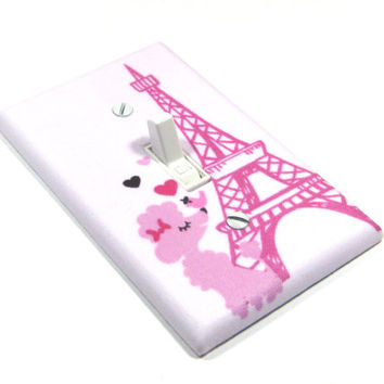 Pink Poodle Eiffel Tower Light Switch Cover French Decor Paris France Decoration