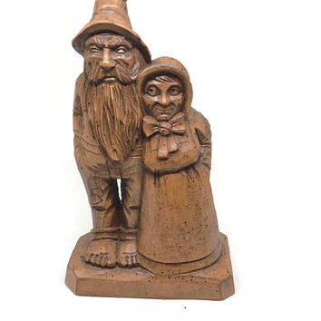 Vintage Hillbilly Couple, Richard Engler Carved Resin Hillbilly Man Hillbilly Women Figurine Rustic Cabin Decor
