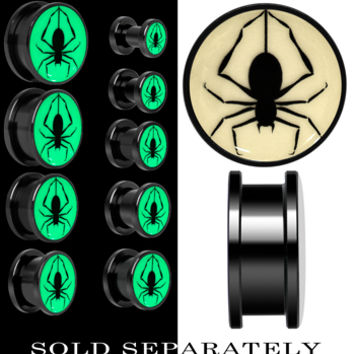 Spinning Spider Glow in the Dark Screw Fit Plug in Anodized Black Titanium | Body Candy Body Jewelry