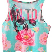 Skull Print Summer Crop Top - OASAP.com
