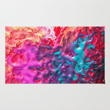 Pretty paint swirl coral pink and blue pastel marble swirl watercolor hipster soft art print Rug by IGallery