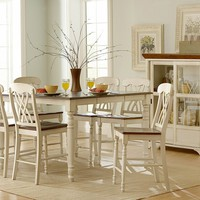 Homelegance Ohana 8 Piece Counter Height Dining Room Set in White: Home & Kitchen