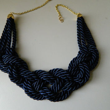 Navy Blue Sailor Knot /Japanese Knot Necklace/choker, Rope Necklace, Nautical Necklace,knotted  bib necklace