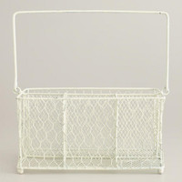 Antique White Flatware Wire Caddy