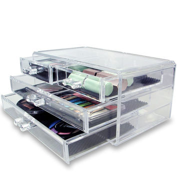 Novelty 3-Layer Clear Acrylic Drawers Style Makeup Cosmetics Jewelry Storage Box Case Organizer