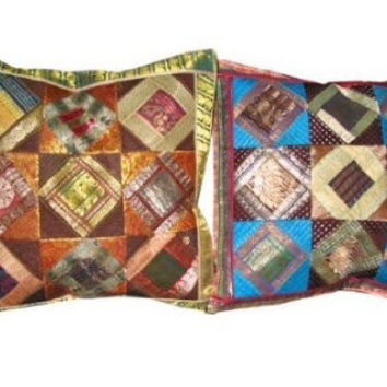 2 Vintage Silk Pillow Shams, Ethnic Sari Shabby Chic Cushion Covers Toss Pillow 16 Inches