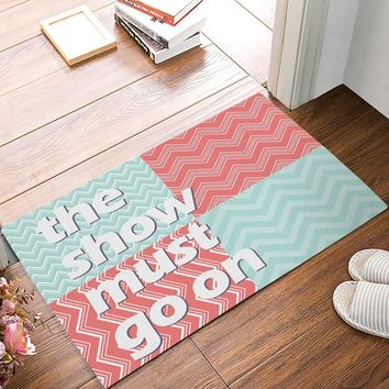 Autumn Fall welcome door mat doormat The Show Must Go On -Mint Green Pink And White Chevron s Kitchen Floor Bath Entrance Rug Mat Absorbent Indoor AT_76_7