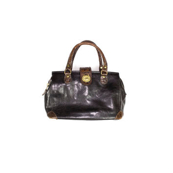 BRAHMIN handbag - vintage - black leather top handle purse - croc embossed bag