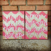 Custom Proverbs 31:30 Chevron Canvas Painting
