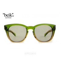 """beik"" eyewear : Stipe [Green X Brown/Smoke Moss Lens]"