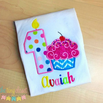 Personalized Rainbow Cupcake Birthday Design- Large Dot