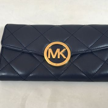 Michael Kors Fulton Quilted Leather Carryall in Navy Blue