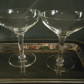 Champagne Coupe Glasses, Set of 2, Unique Martini or Cocktail Glasses, Wide Open Bowl, Great Gatsby, Mad Men and Old Hollywood Style