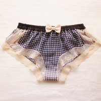 Gingham Chiffon Sleep Boxer/style USAGI (made to order)