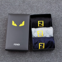 3PCS FENDI Men Briefs Shorts Underpants Male Cotton Underwear+GIFT Box