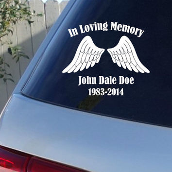 In Loving Memory Car Window Decal With Angel Wings | Car Decals