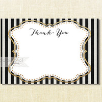 Black and White Stripe Thank You Card INSTANT DOWNLOAD 4x6 Flat Gold Glitter Gatsby Glam Birthday Bridal Shower DIY Printable - Ashley Style