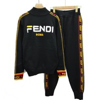 FENDI New Fashion Women Long Sleeve Knit Zipper Jacket Knit Trousers Pants Set Two-Piece Black