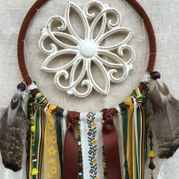 Handmade Retro Dream Catcher with Wood Plaque Center