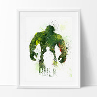 Hulk Poster, SuperHero Art, SuperHero Print, Watercolor Print, Splatter, Hulk Birthday, Nursery Gift Art Print Kids Decor Artwork(32)