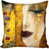 G0309 Hot Sale Gustav Klimt The Kiss Square Pillowcase Custom Zippered Cushion Pillow Cover Case