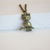 Owl Necklace, Antique Brass, Bronze, Antique Brass Chain