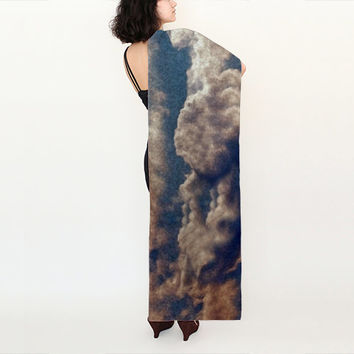 Scarf Long 16x72 inches Habotai Silk White Cloud Blue Sky Stole Made To Order Photograph Art To Wear Wrapping