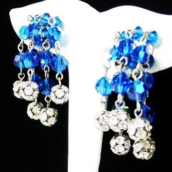 Dangling Blue Bead Earrings - Clip on Crystal Balls - Cha Cha Style - Rhinestone Encrusted Beads - Mid Century 1960's Mid Century Jewelry