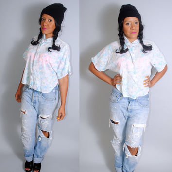 Vintage 1990s Blue white  floral Cotton CROPPED dolman SHEER short sleeve button down grunge preppy  shirt blouse