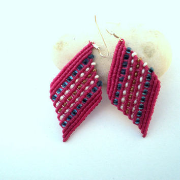 Earrings in pink by macrame by asmina on Etsy