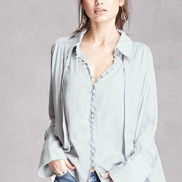 Satin Buttoned High-Low Top