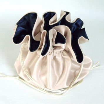 Dollar Dance Wedding Bag No Pockets Champagne and Navy Blue