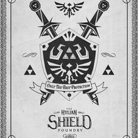 "Legend of Zelda Letterpressed Hylian Shield Logo Print - signed museum quality giclée fine art print 16"" x 20"""