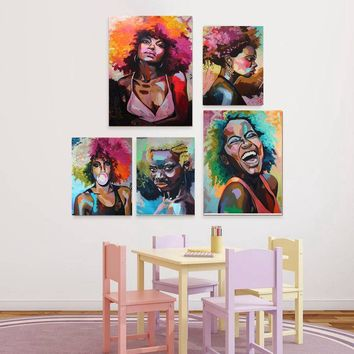 Afro Woman Portrait Wall Art Canvas Print Multicolor African Girl Oil Canvas Painting for Office Room Home Wall Decor Drop Ship
