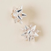 Holiday bow stud earrings in silver