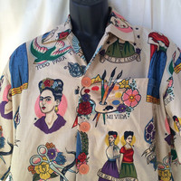 Frida Kahlo mens shirt, Frida Hawaiian shirt, casual friday work shirt, party shirt, dance shirt