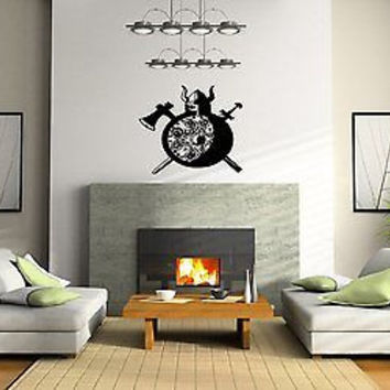 Axe And Viking Helmet and Shield Wall Art Sticker decal Ar464