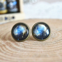 Galaxy Earrings, Cosmic Galaxy earrings studs, Mystery Nebula Space ear stud earrings