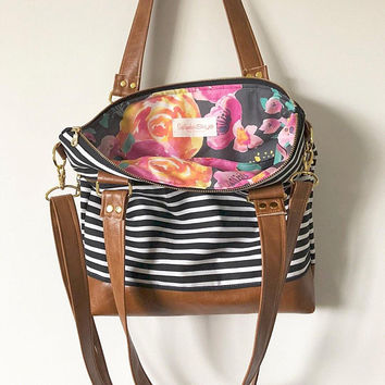 33f1a70583 SeptemberSkye on Etsy  8.00. READY TO SHIP! small tote in black and white  striped and indy bloom interior