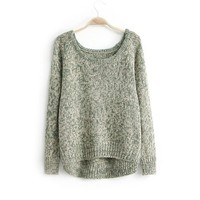 ZLYC Bohemian Scoop Neck Kniting Christmas Casual Sweater For Women