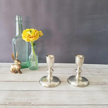 Preisner Sterling Silver Candlesticks/ Sterling Silver Candle Holders/ Preisner 119/ Weighted Sterling Candlesticks/ Antique Candlesticks