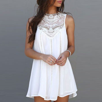 Women Lady Girls Female Designed Summer Casual Loose Sexy Charming Sleeveless Lace Patchwork O Neck Mini Sundress Dress White