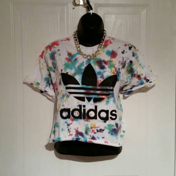 unisex customised adidas tie dye  cropped t shirt  festival swag
