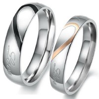 "Men,Women's ""Real Love"" Heart Stainless Steel Band Ring Valentine Love Couples Wedding Engagement Promise"