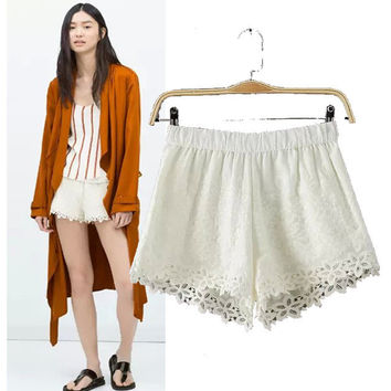 Stylish High Rise Lace Women's Fashion Shorts [5013328836]