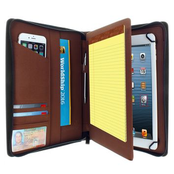 "Universal PadFolio Case Brown Executive Notepad Holder 8.5"" To 11"" Inch"