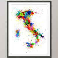 Paint Splashes Map of Italy Map, Art Print 18x24 inch (121)