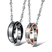 "Fashion Couple ""Forever Love"" Double Ring Necklace Lover Promise Necklace One Piece Price [7641246854]"