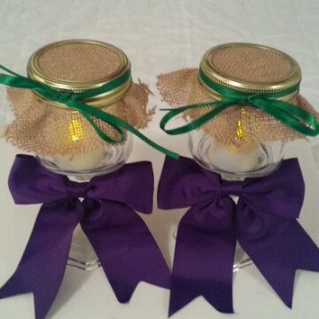 Burlap purple green wedding candle jar / center piece set. Any color to match your wedding