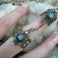 double armor ring harlequin blue nail ring claw ring nail tip ring knuckle ring
